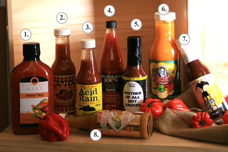 A great flavour enhancer, hot sauce is good on just about everything (some hot pepper sauces not pictured).