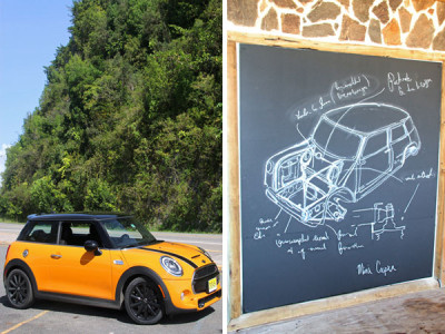 The Mini Cooper S on the road (left) and a sketch of the Mini
