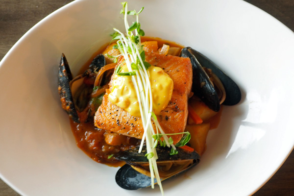 Steelhead salmon with mussels