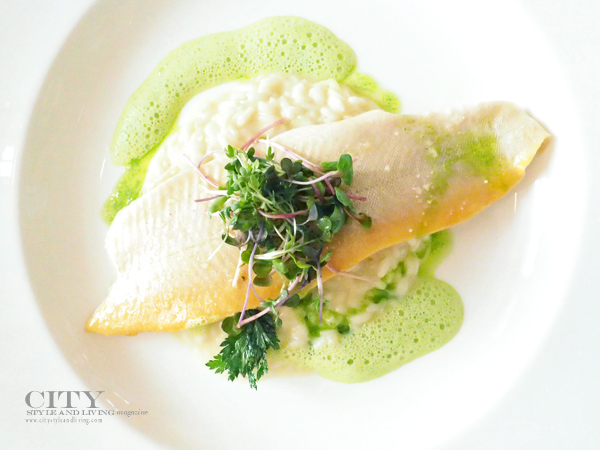 Carpe Diem Finest Fingerfood Fish dish, poached char with creamy risotto.