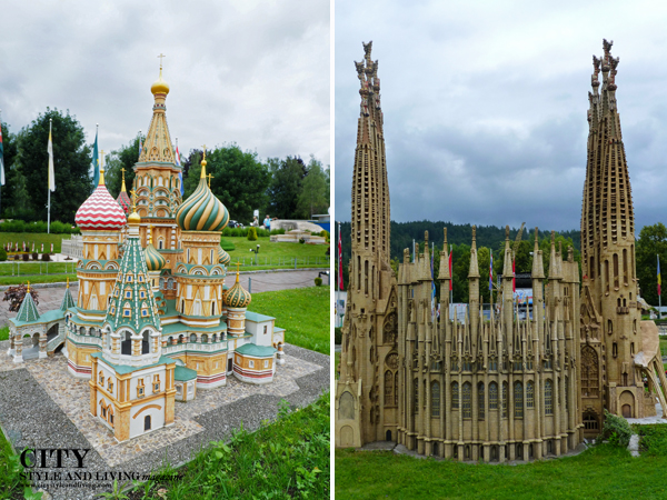 St. Basil's Cathedral in Russia and Sagrada Familia from Spain at Minimunduds Klagenfurt Austria.