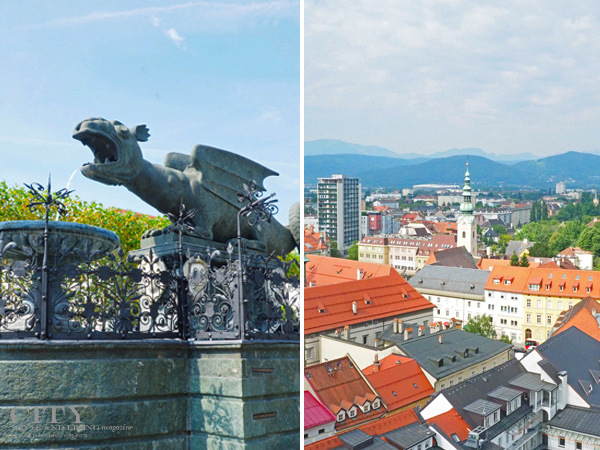 Lindwurm and aerial view of Klagenfurt Austria.