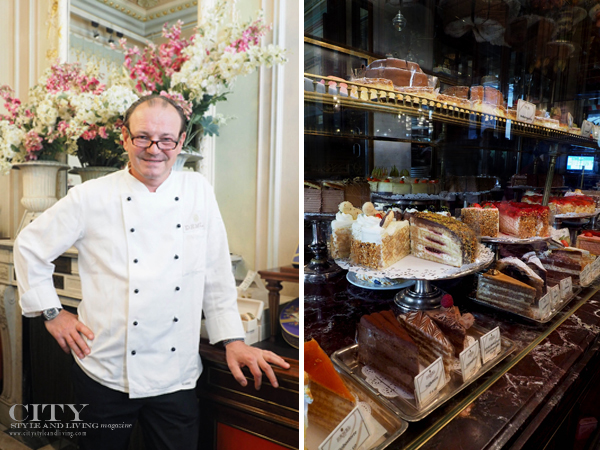 Chef Dietmar Muthenthaler and cakes at a counter display at Demel in Vienna Austria.