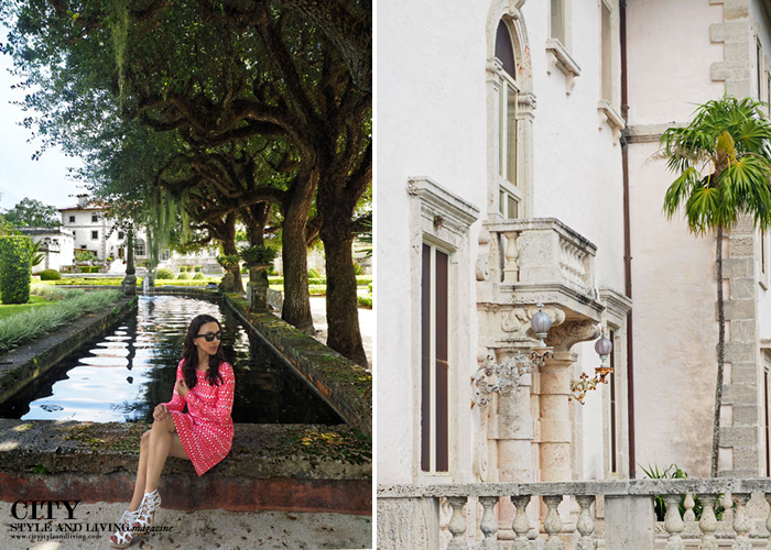 City style and living magazine style fashion blogger vizcaya miami sitting water fountain