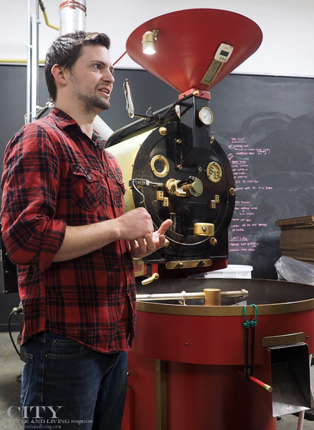Nick Tabor, roaster at Beansmith coffee roasters in Nebraska.