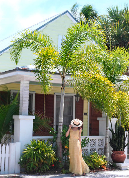 Maxi dress at house in Florida Keys