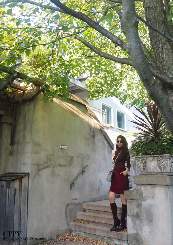 Langdon Hall fashion blogger fall 2015 turtleneck aline skirt knee high boots michael kors bag