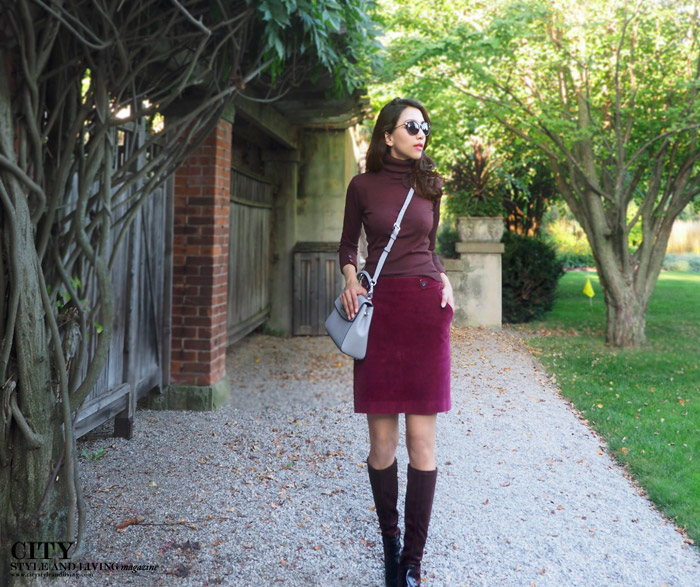 Langdon Hall fashion blogger fall 2015 turtleneck aline skirt knee high boots