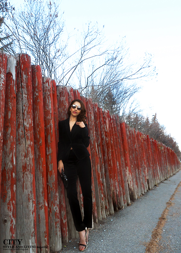 City style and living magazine style fashion blogger Calgary winter holiday dressing black velvet pantsuit
