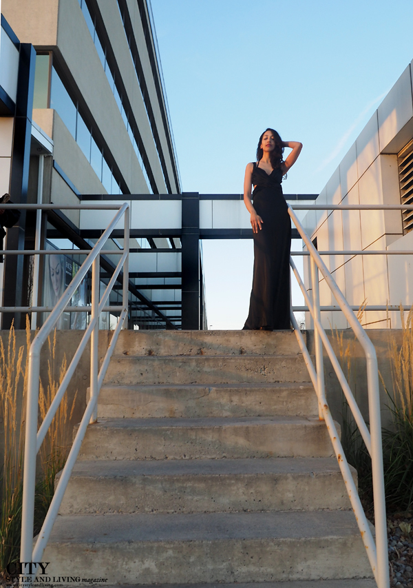 City style and living magazine style fashion blogger Calgary new years eve black tie stairs