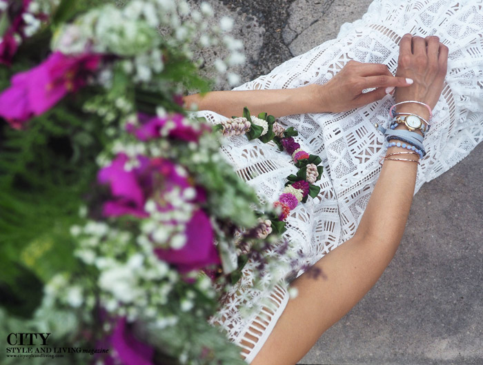 City Style and Living Magazine White Lace Dress Moir Gardens haku and lei
