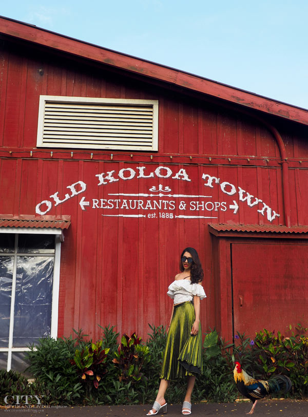 City style and living magazine style fashion blogger Kauai topshop metallic midi skirt lace crop shave ice shop old koloa town