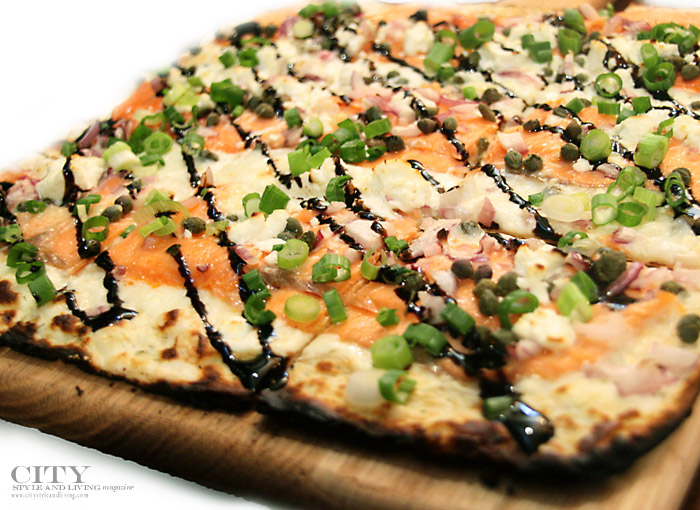 city style and living smoked salmon pizza