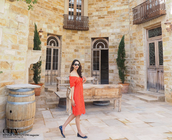 City Style and Living Magazine sunstone winery banana republic dress walking
