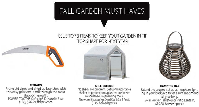 City Style and Living Magazine. gardening must haves