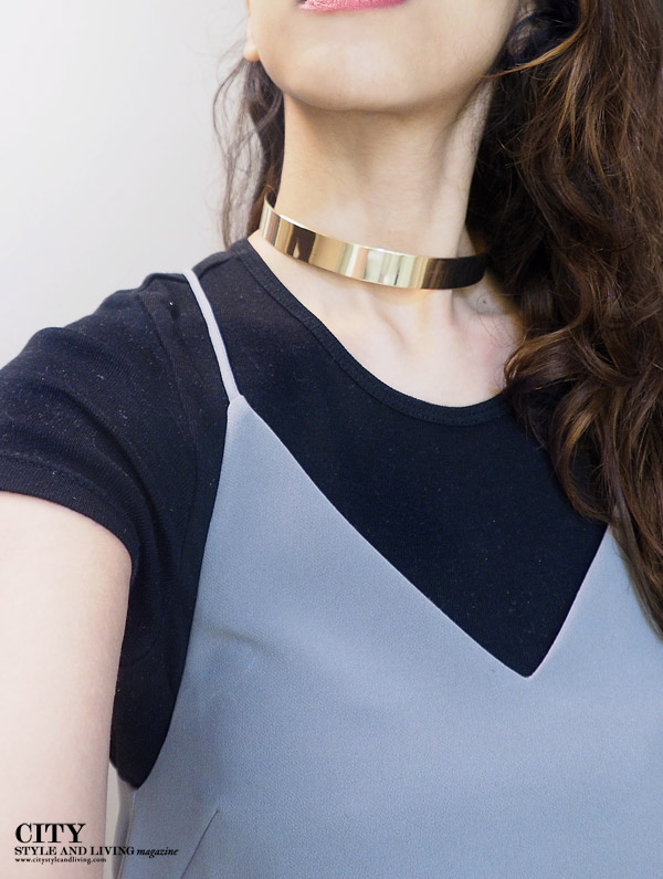 City style and living magazine Editors Notebook style fashion blogger slipdress metallic choker Fairmont hotel vancouver closeup