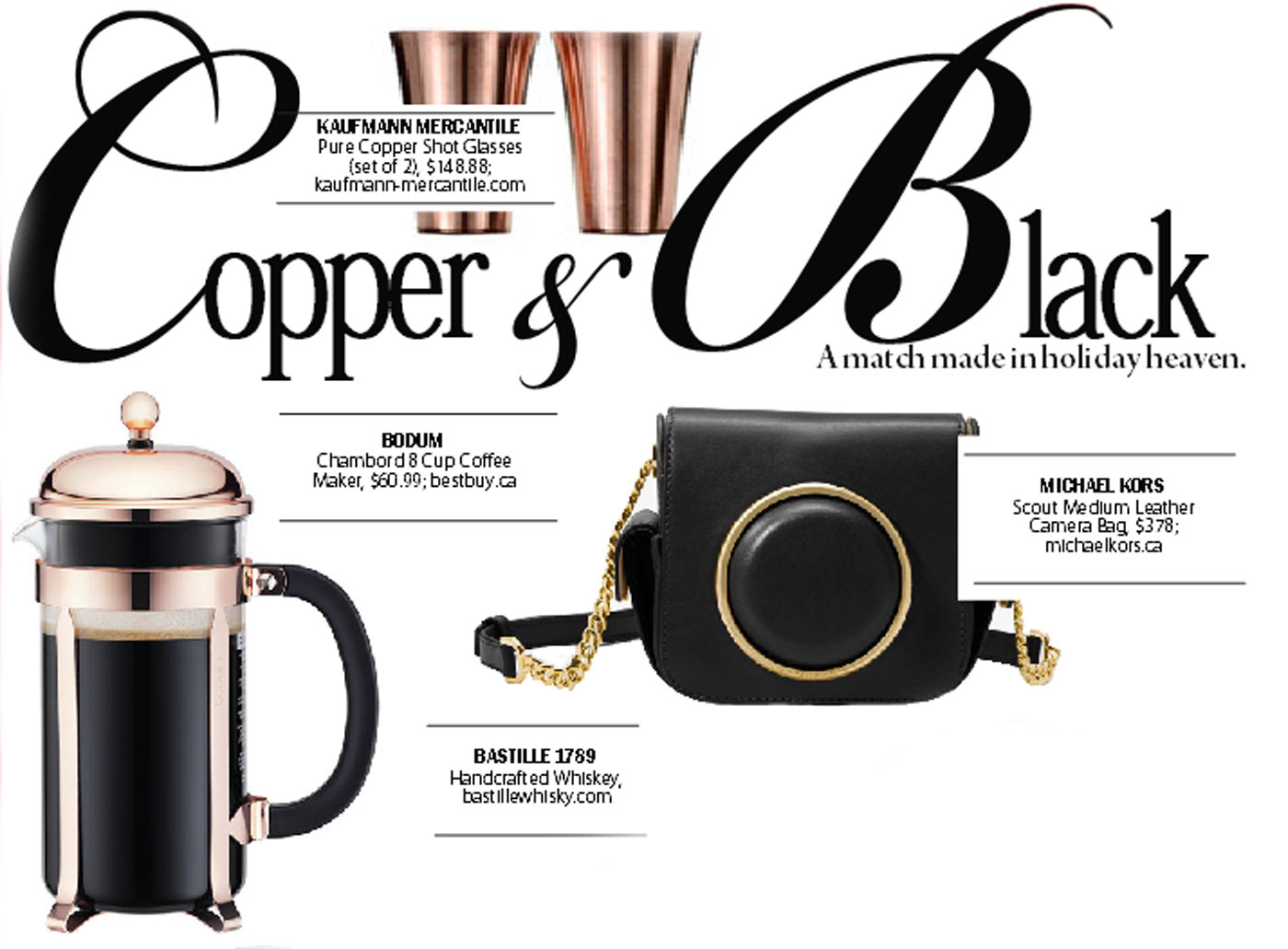 City Style and Living Magazine Gift Guide 2016 Black