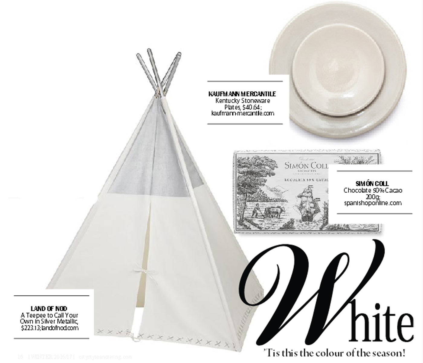city style and living magazine gift guide white