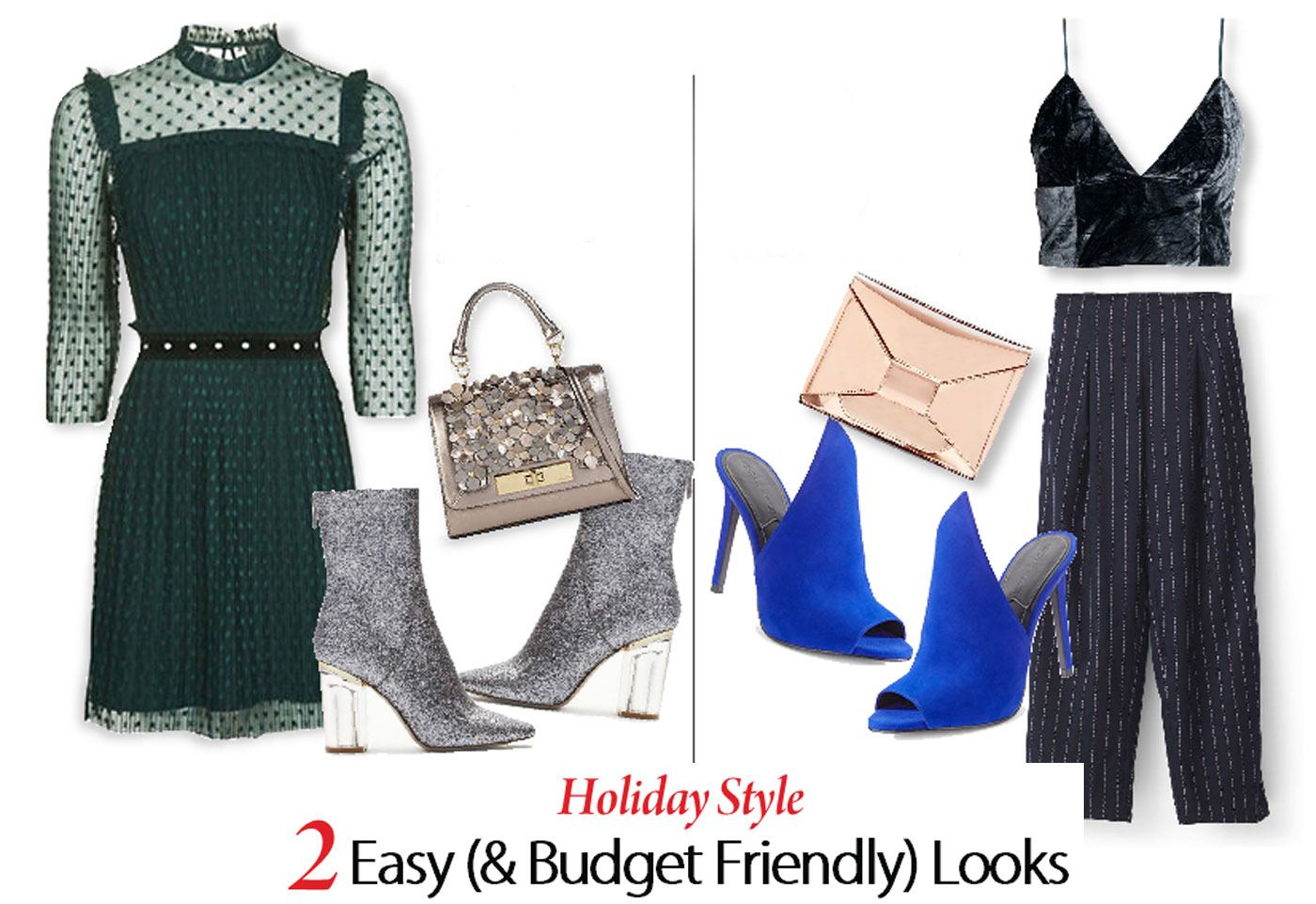 City Style and Living MAgazine New Years Eve fashion green topshop dress with sparkly booties and a velvet crop top with blue mules and a metallic clutch