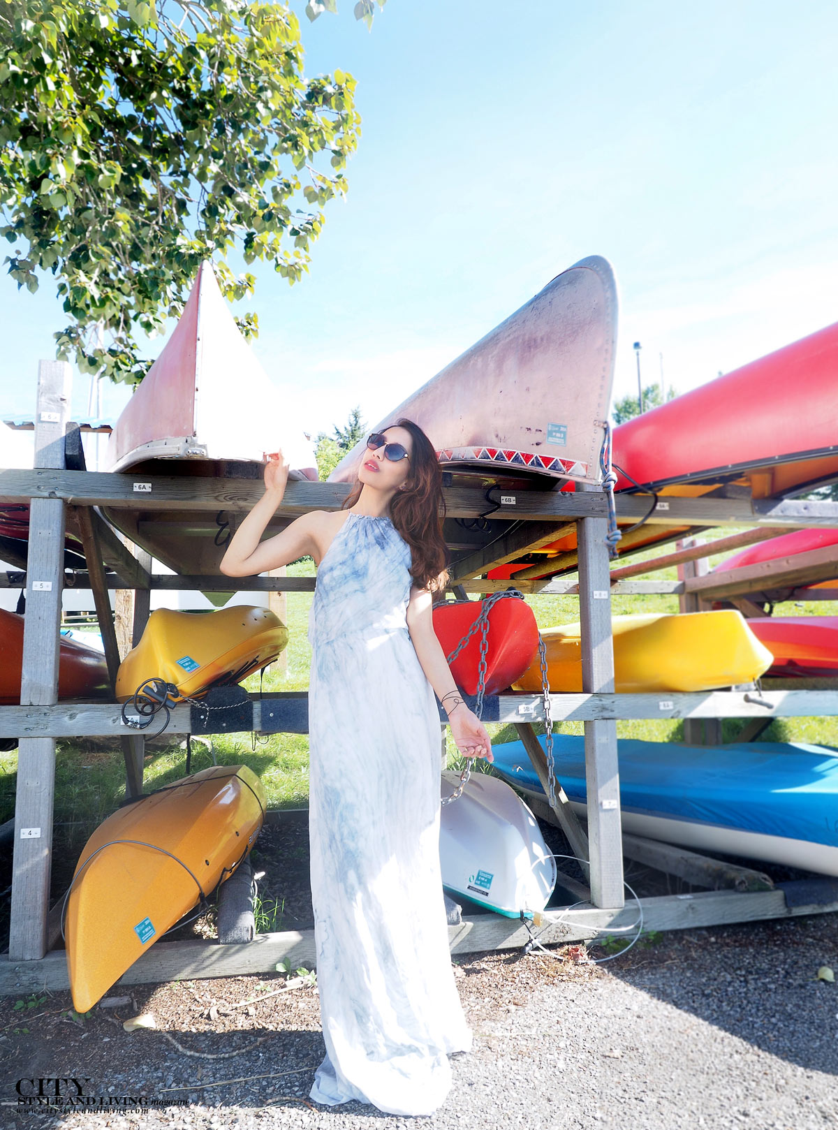 The Editors Notebook calgary fashion blogger wearing a maxi dress at glenmore resevoir canoes