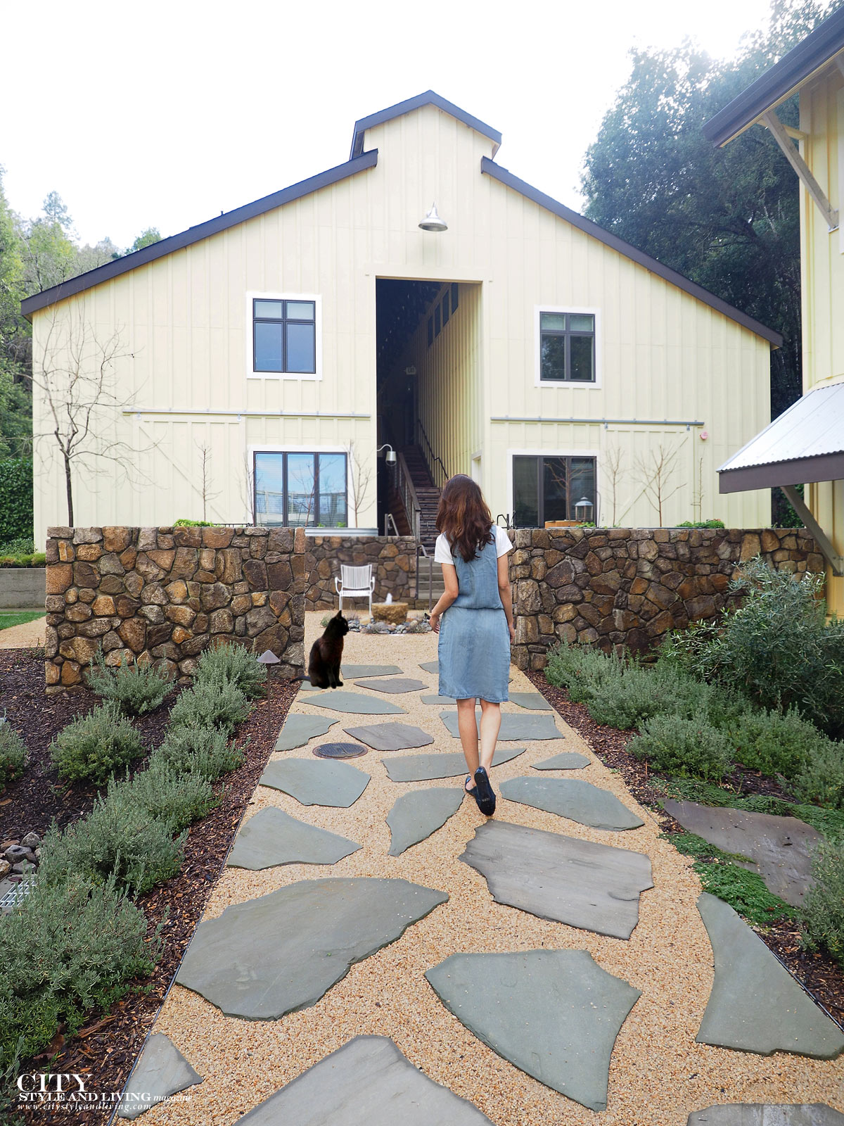 City Style and Living The Editors Notebook style blogger jean dress over a white tshirt and blue rockport ballet flats at farmhouse inn in sonoma
