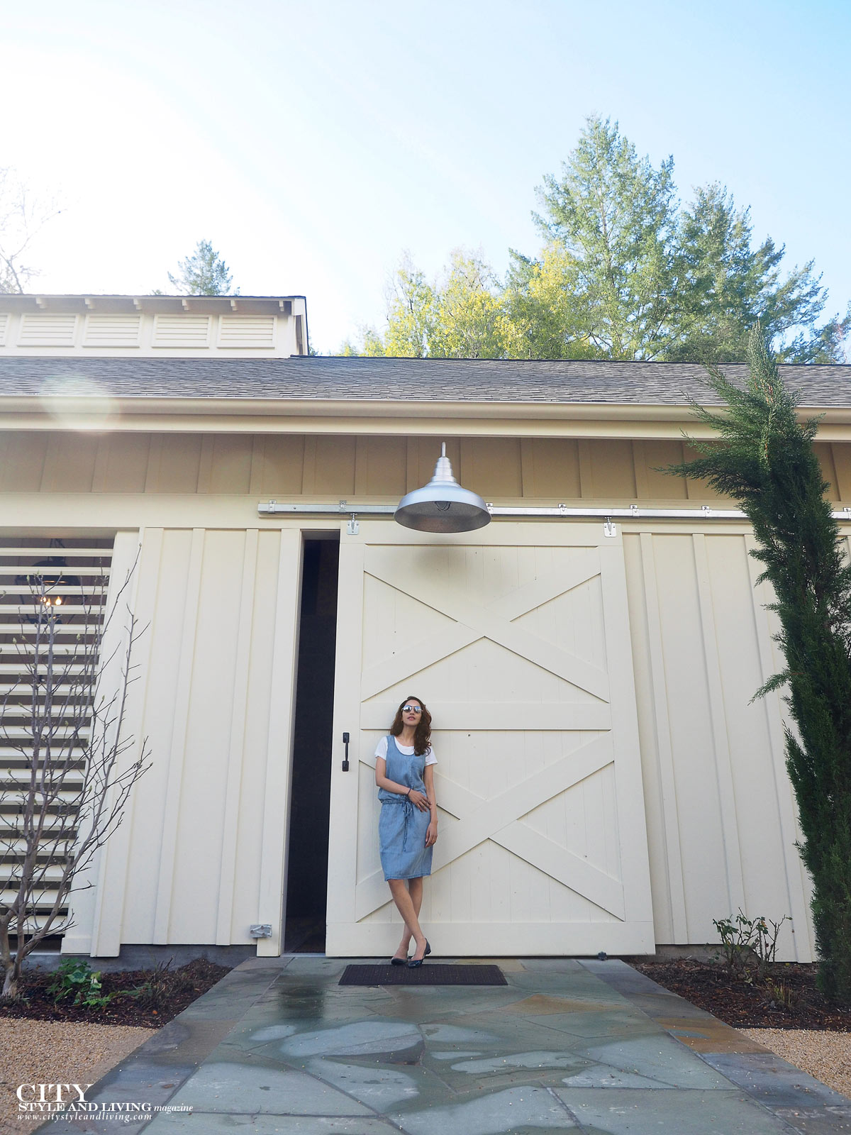 City Style and Living The Editors Notebook style blogger jean dress over a white tshirt and blue rockport ballet flats in sonoma