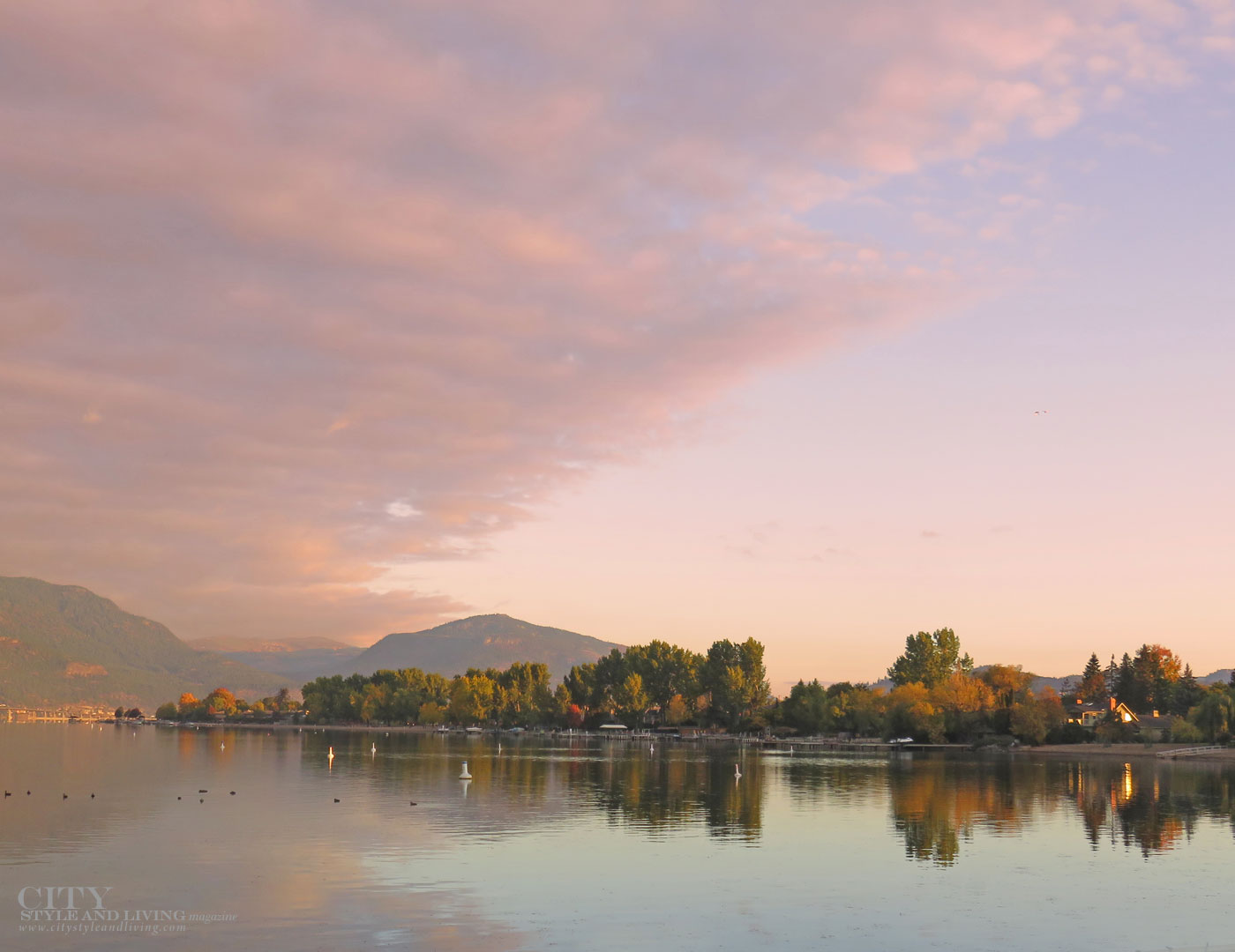 Sunset at Manteo Resort in The Okanagan City Style and Living Magazine