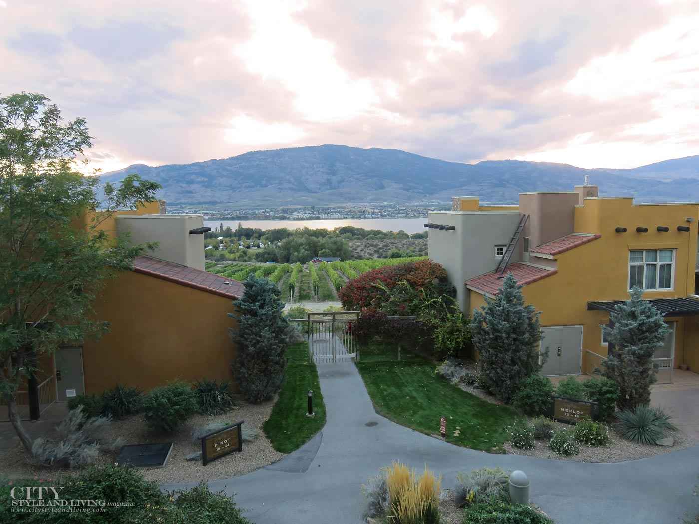 City STyle and Living MAgazine Spirit Ridge Resort at sunset in Osoyoos