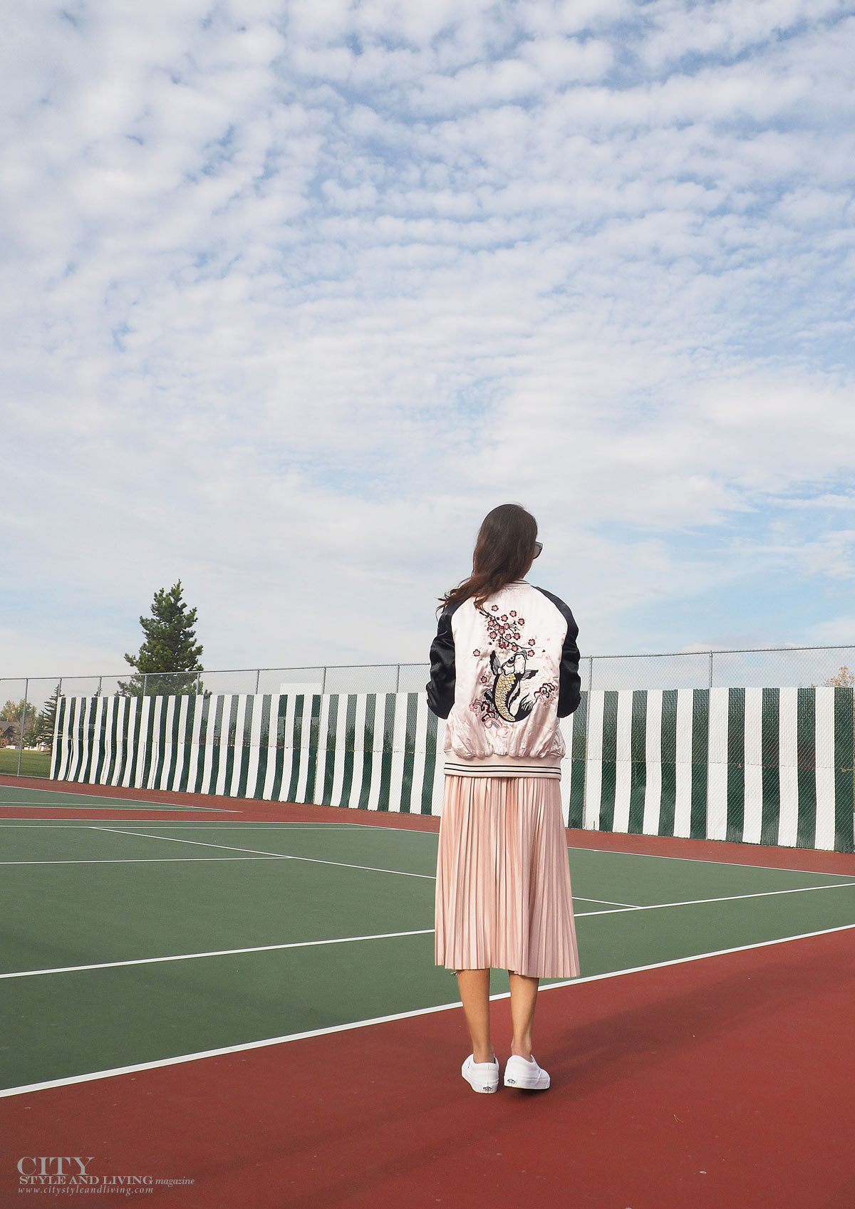 City STyle and Living The Editors Notebook style blogger tennis court topshop metallic skirt, off shoulder free people top, le specs sunglasses and white sneakers and topshop bomber jacket