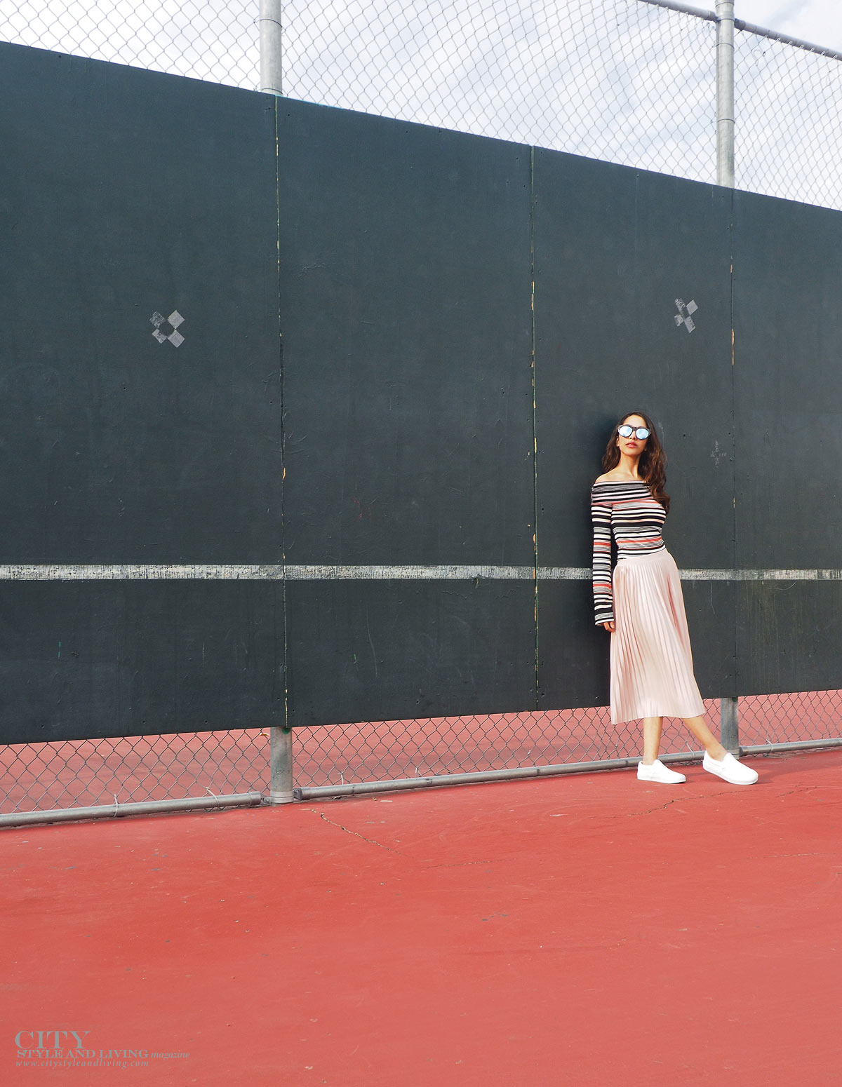City STyle and Living The Editors Notebook style blogger tennis court topshop metallic skirt, off shoulder free people top, le specs sunglasses and white sneakers leaning