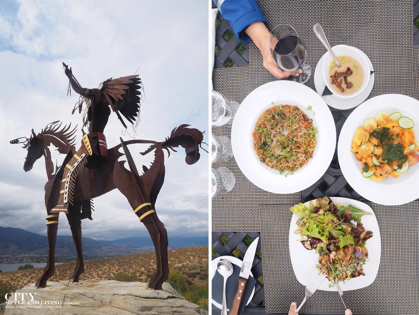 City STyle and Living Magazine Nk'Mip cellars bronze statue of Aboriginal man on horse and lunch at The patio restaurant