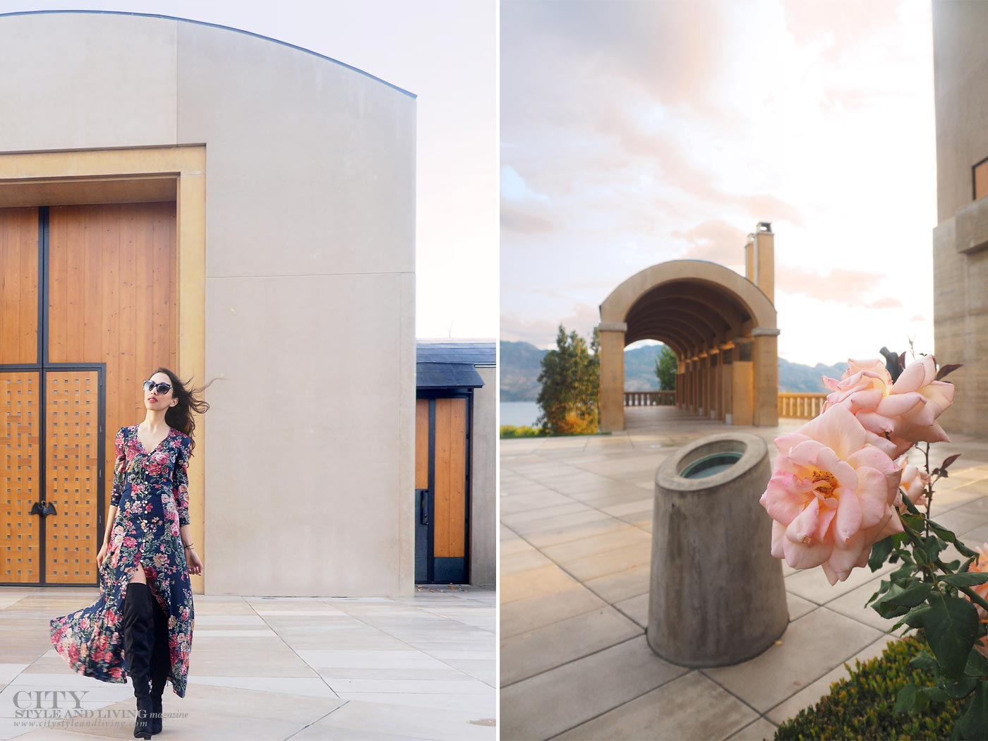 The Editors Notebook style blogger at Mission Hill family estate winery at sunset wearing ralph lauren maxi dress and sam edelman thigh high boots and blooming roses