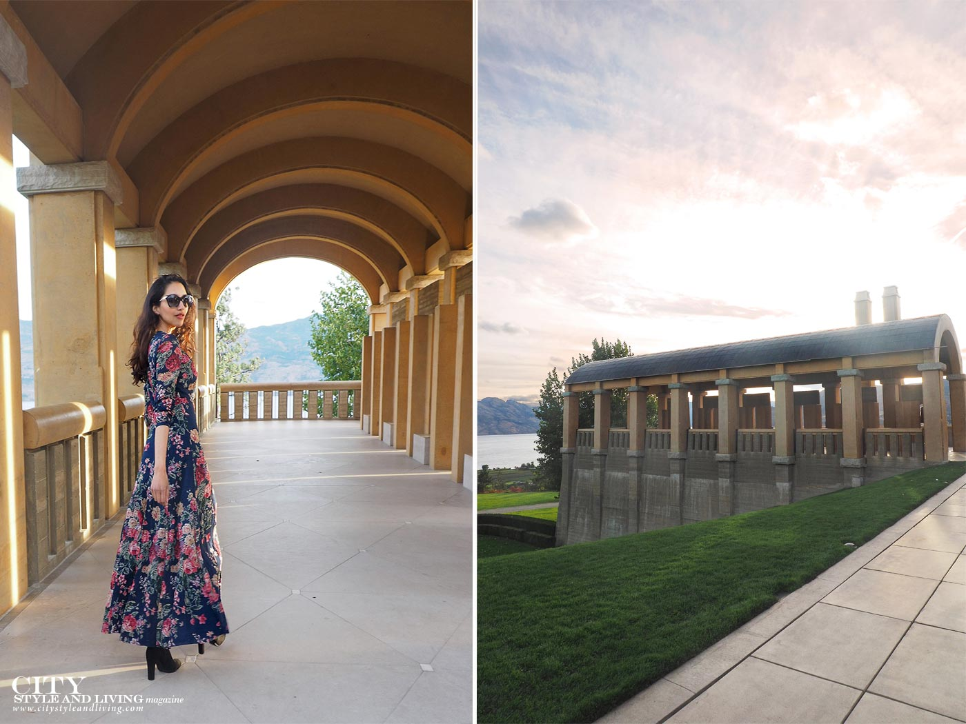 The Editors Notebook style blogger at Mission Hill family estate winery at sunset wearing ralph lauren maxi dress and sam edelman thigh high boots