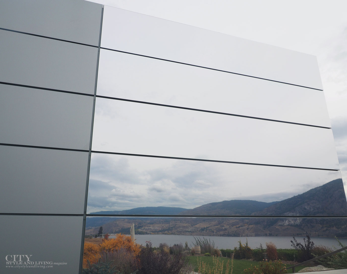 The Editors Notebook style blogger at Painted Rock Winery Penticton exterior of tasting room reflection