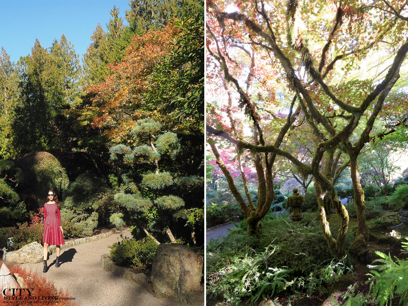 City style and living magazine Editors Notebook style fashion blogger Butchart Japanese Gardens BCBG Max Azria fall foliage, trees