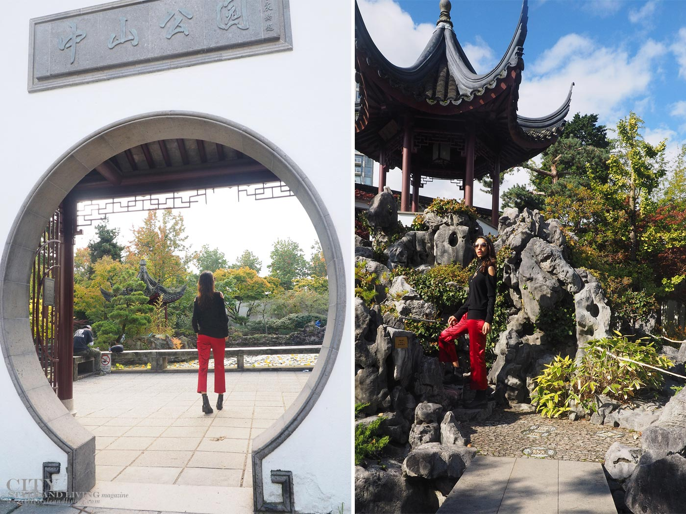 City Style and Living The Editors Notebook style blogger Shivana M at Dr. Sat Yuen Sen Chinese Gardens in Vancouver wearing a cashmere top and red cropped pants beautiful