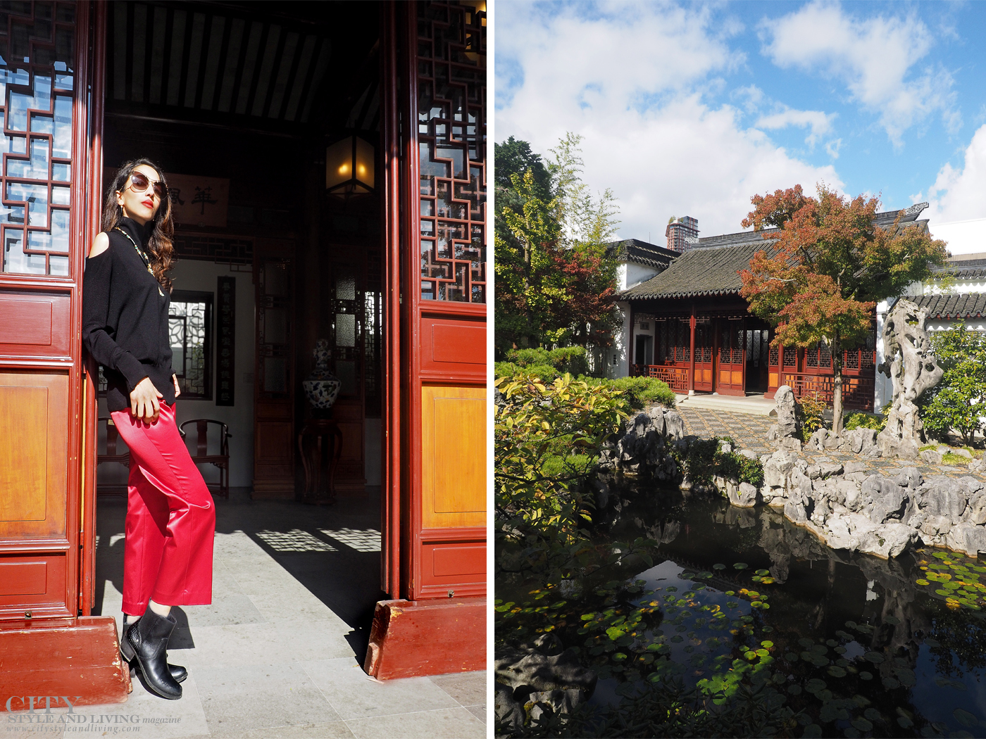 City Style and Living The Editors Notebook style blogger Shivana M at Dr. Sat Yuen Sen Chinese Gardens in Vancouver wearing a cashmere top and red cropped pants. Lucky Red at Dr. Sun Yat-Sen Classical Chinese Garden in Vancouver