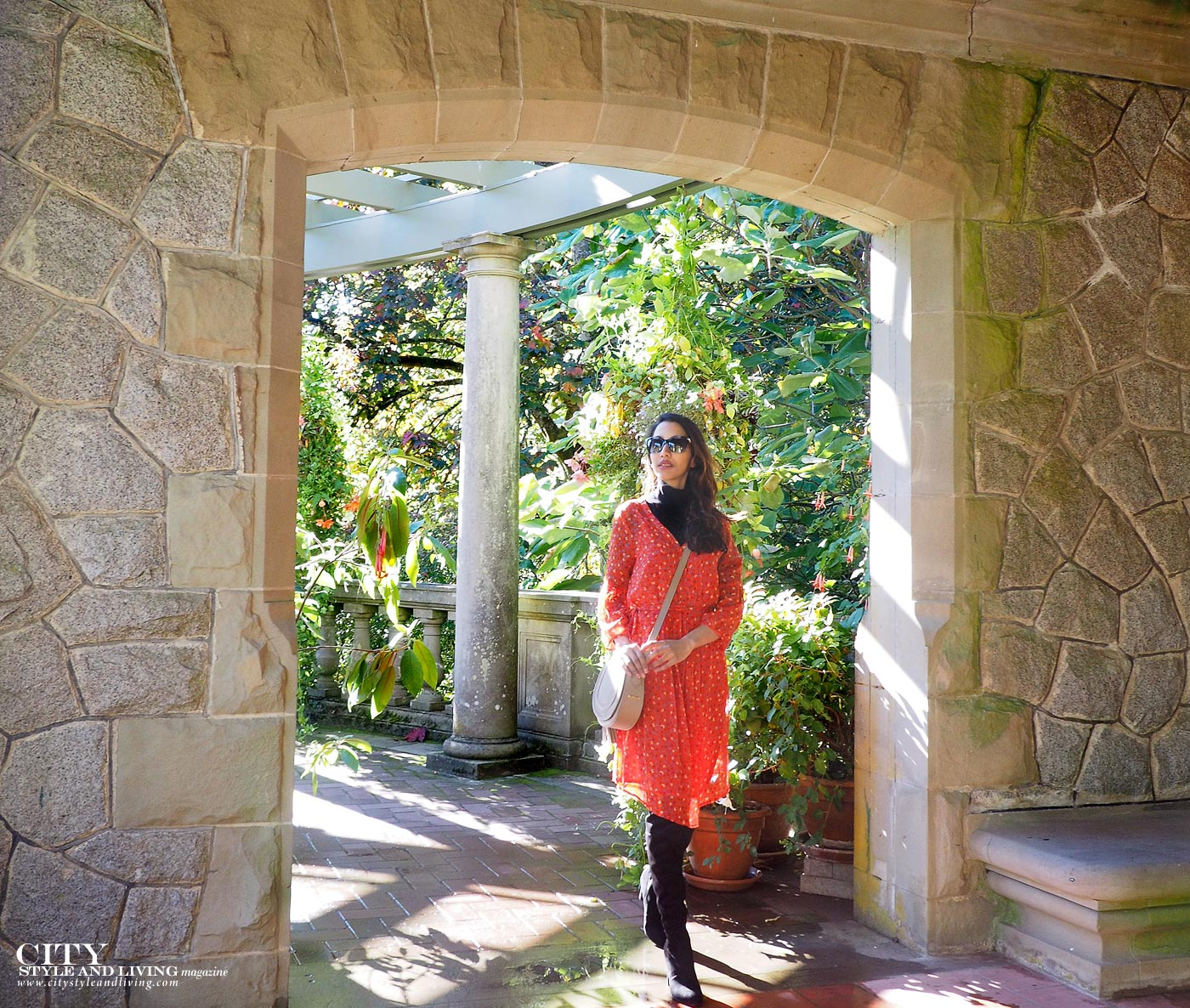 City style and living magazine Editors Notebook style fashion blogger Hatley Castle and Gardens rose and floral dress with knee high black boots Italian gardens stone wall