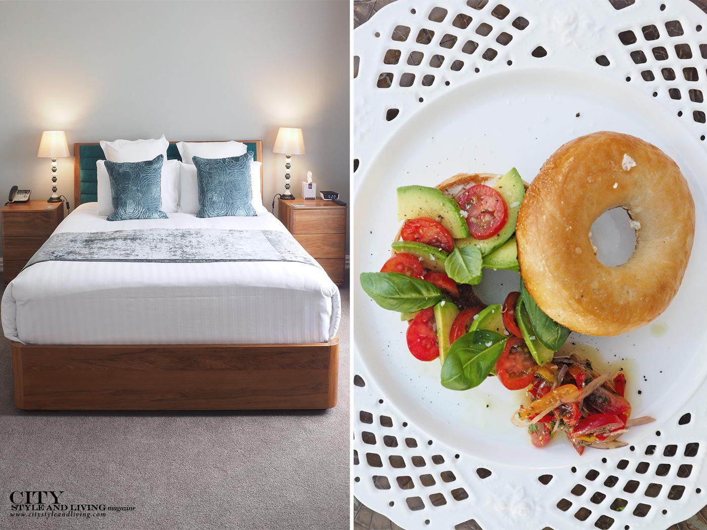 City Style and Living Magazine Mangapapa Hotel Napier New Zealand North Island inside hotel room, breakfast bagel