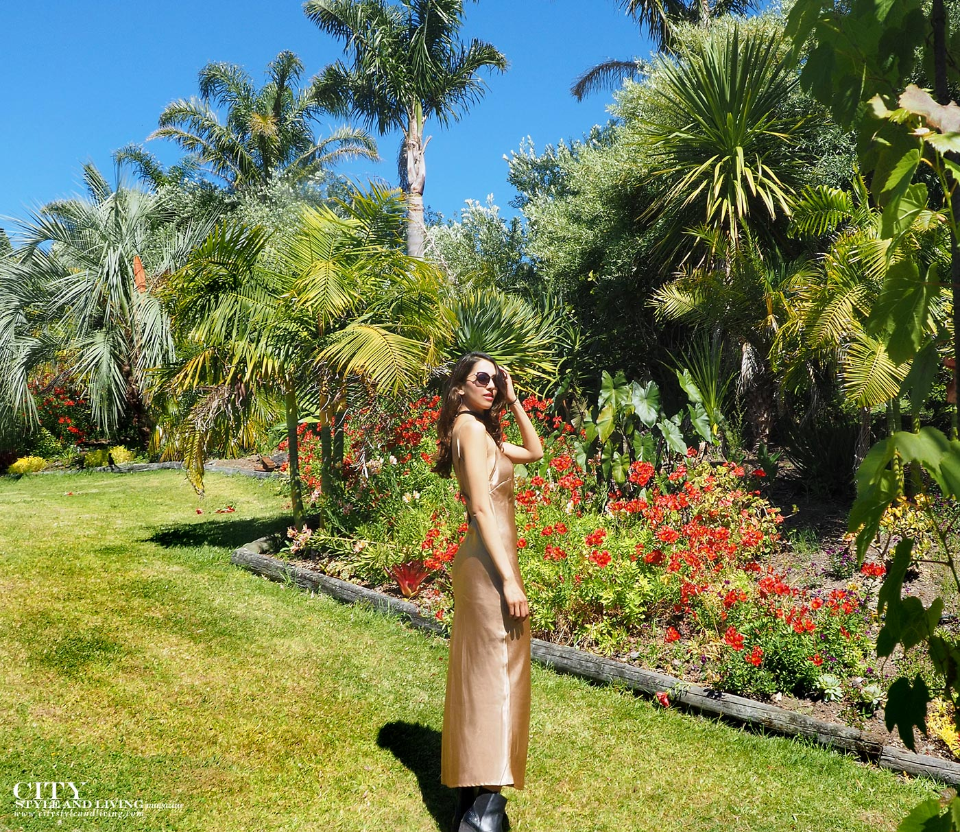 City style and living magazine Editors Notebook style fashion blogger Shivana M Mercury Bay Winery Coromandel New Zealand Gold dress in garden