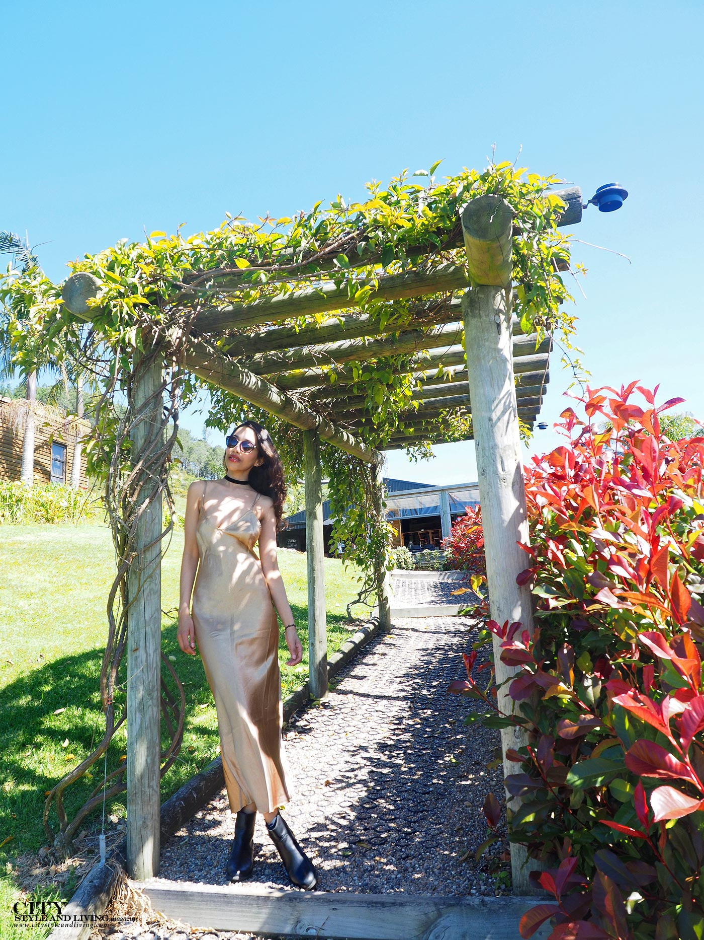 City style and living magazine Editors Notebook style fashion blogger Shivana M Mercury Bay Winery Coromandel New Zealand Gold dress by trellis
