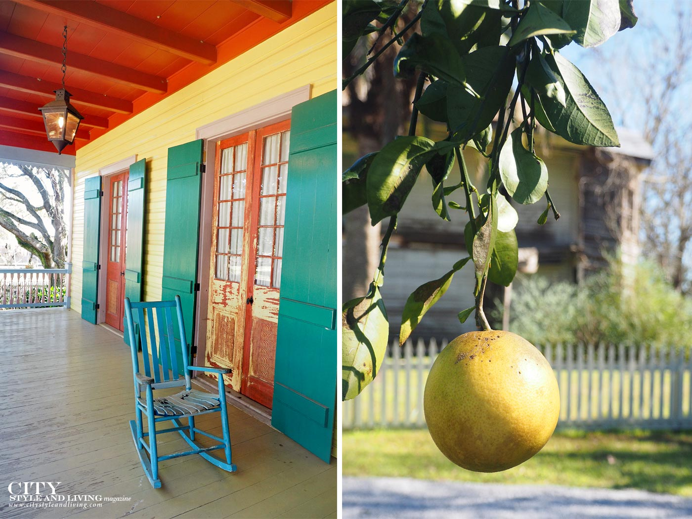 City Style and Living Magazine laura plantation colourful porch and grapefruit