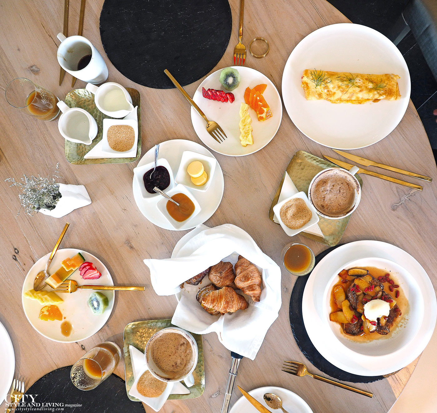 City Style and Living Magazine Luxury Hotel Kinloch Club New Zealand French Breakfast, fruit, pastry, coffee, juice