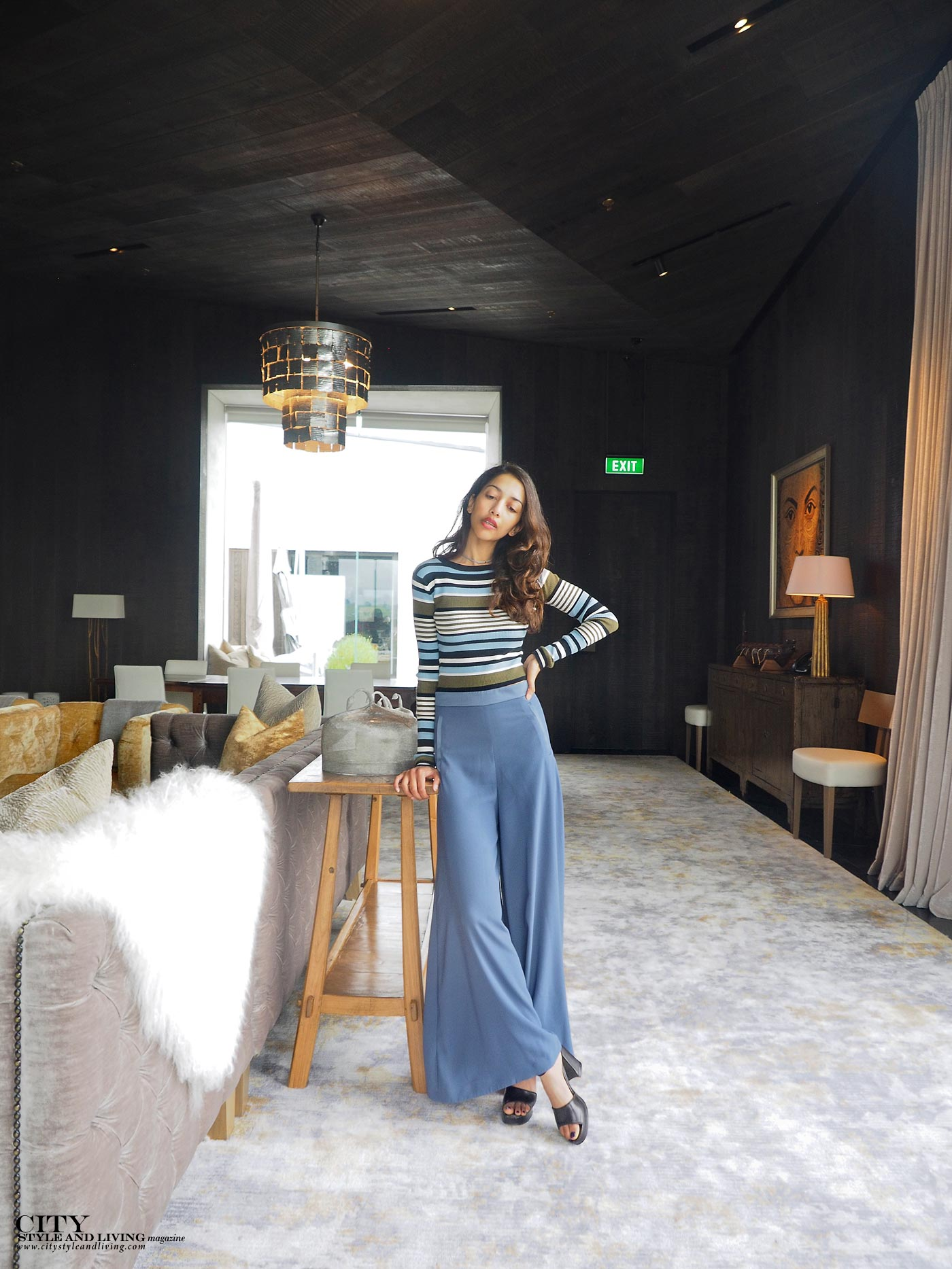 City style and living magazine Editors Notebook style fashion blogger Shivana M kinloch club clubhouse meeting room culottes and striped croptop