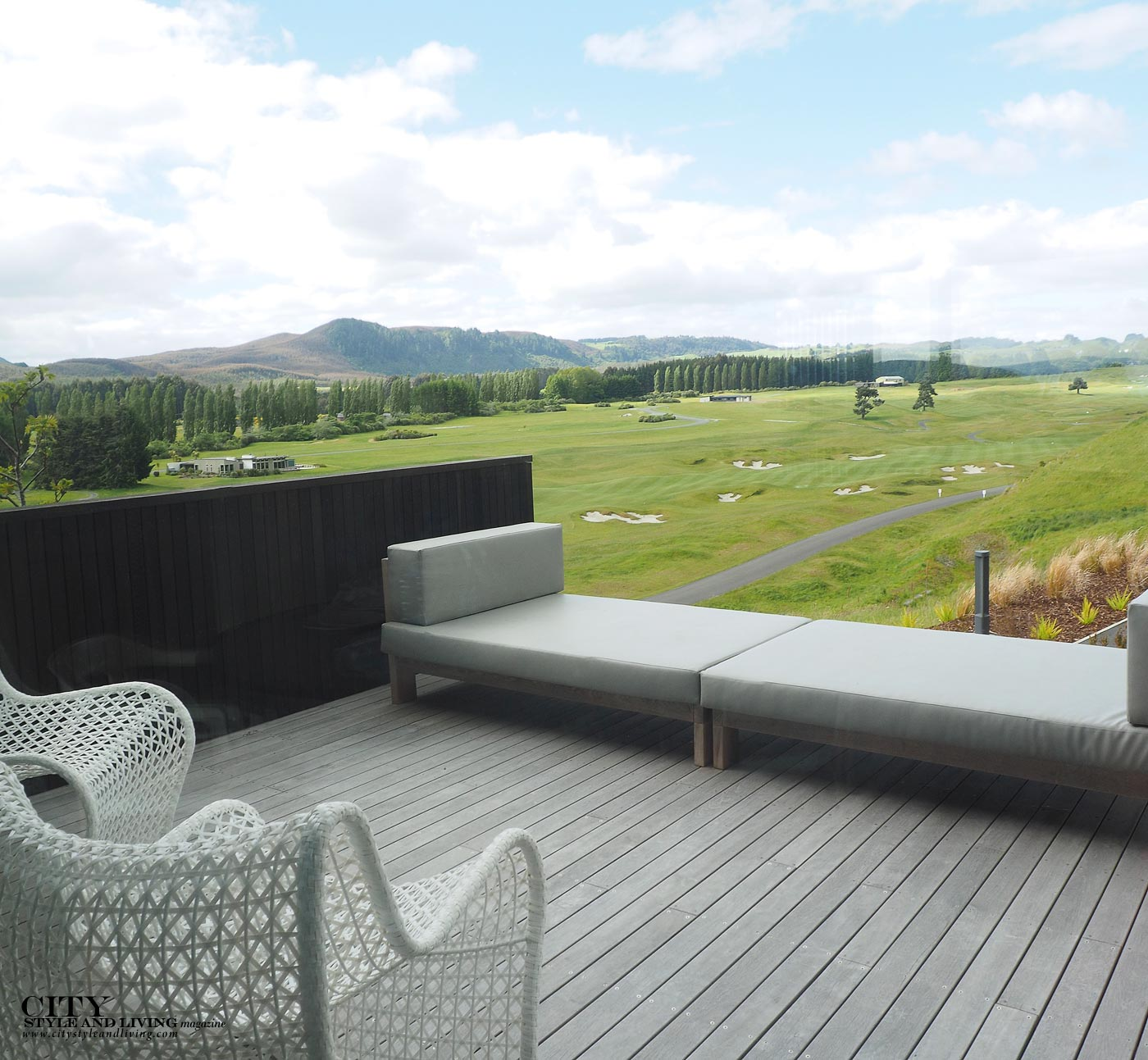 City Style and Living Magazine Luxury Hotel Kinloch Club New Zealand View from villa onto golf course scenery