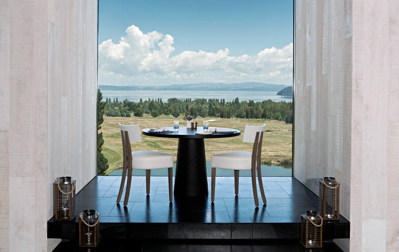 City Style and Living Magazine Luxury Hotel Kinloch Club New Zealand dining table looking onto golf course