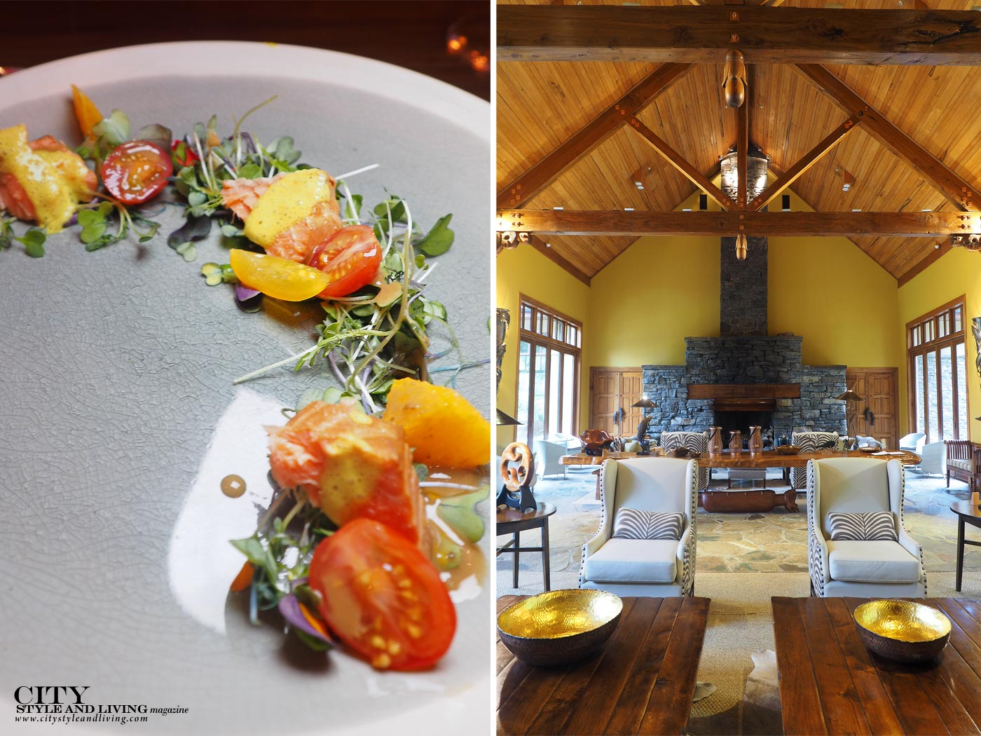 City Style and Living Magazine treetops lodge and estate dinner salad and interior of great hall