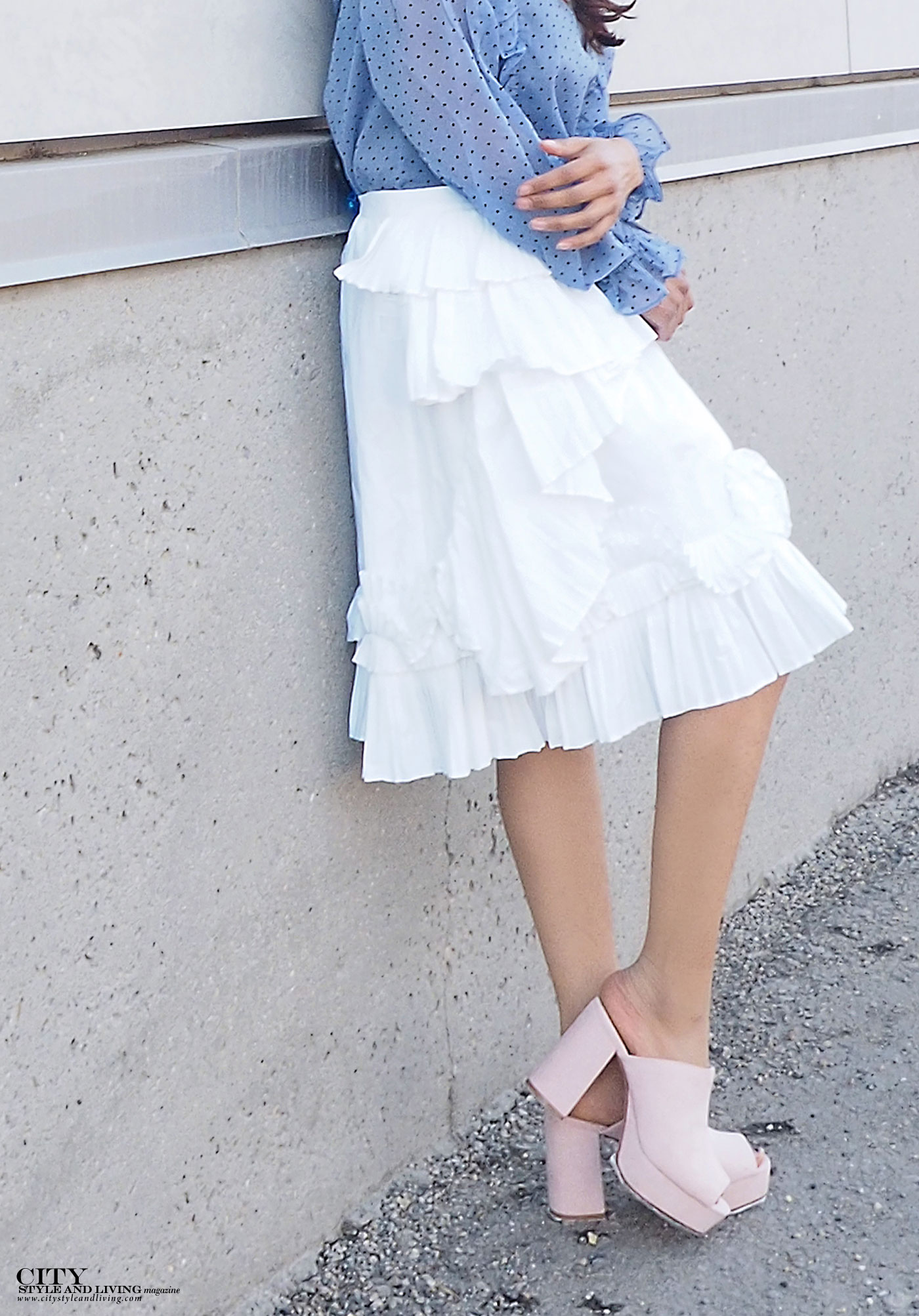 City style and living magazine The Editors Notebook style fashion blogger Shivana Maharaj how to wear frills for spring 2017 frill skirt closeup
