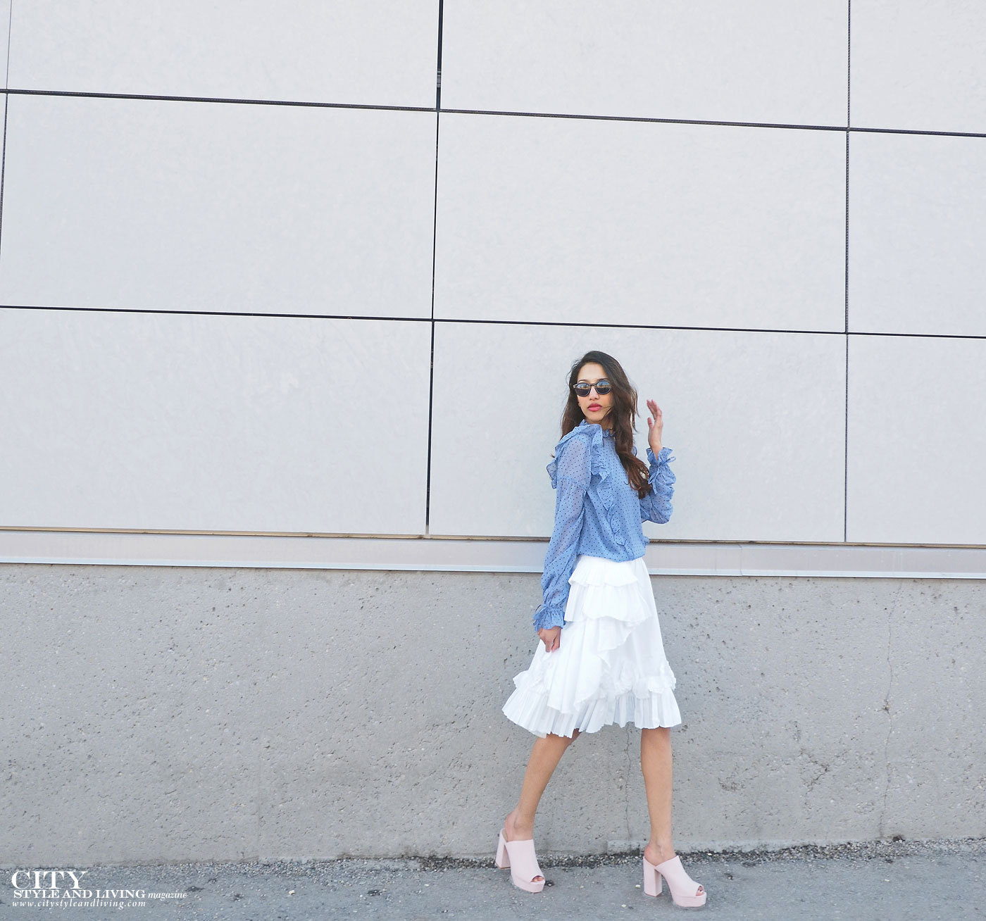 City style and living magazine The Editors Notebook style fashion blogger Shivana Maharaj how to wear frills for spring 2017 walking calgary