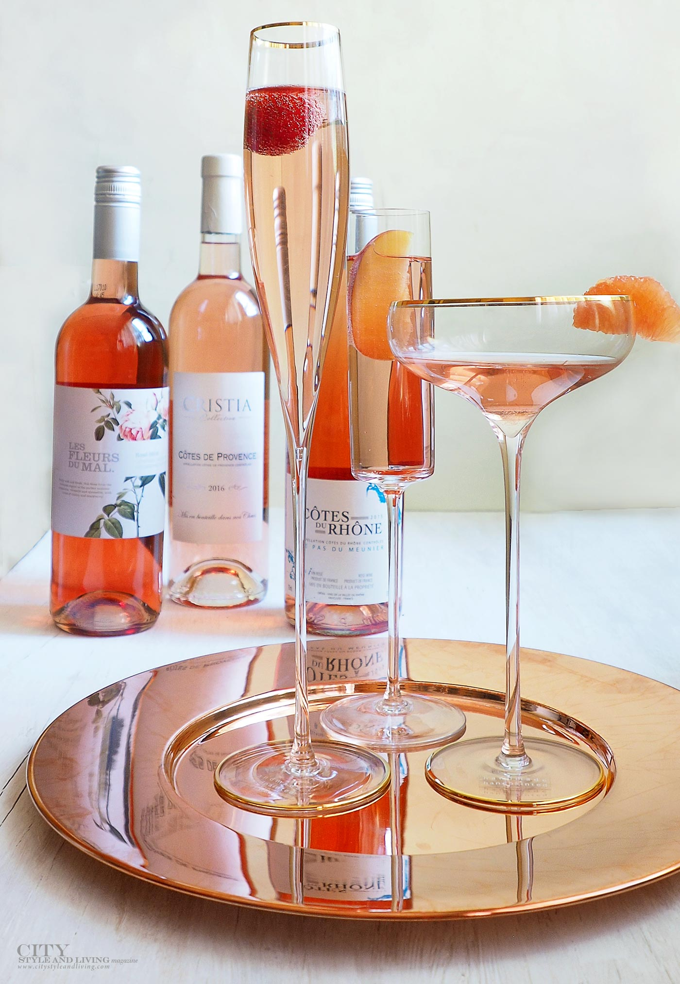 City Style and Living Magazine Rose wine bottles and las international glasses